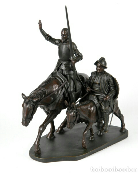 PRECIOSA FIGURA DON QUIJOTE Y SANCHO DE GRAN ACABADO EN RESIA DE ALTA CALIDAD PARECIENDO BRONCE. (Arte - Escultura - Resina)