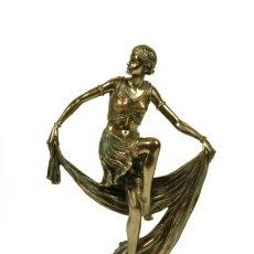 Arte: ESPECTACULAR Y BELLISIMA FIGURA ART'DECO EN ALTA RESINA ACABADO BRONCE PARECIENDO BRONCE REAL.BELLA!. Lote 118430428