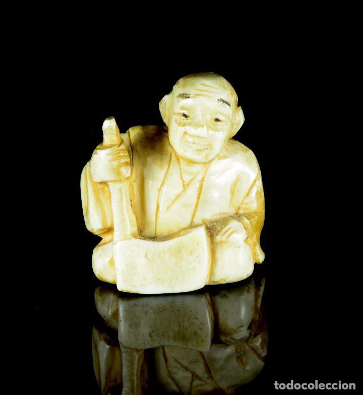ANTIGUO NETSUKE JAPONES TALLA DE MARFIL (Arte - Escultura - Marfil)
