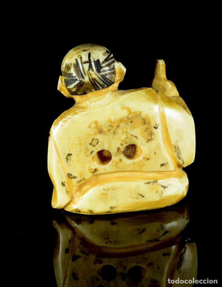 Arte: Antiguo netsuke japones talla de marfil - Foto 2 - 90414379