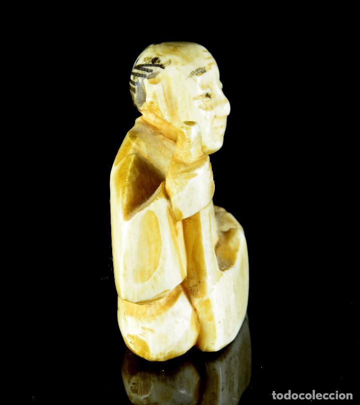Arte: Antiguo netsuke japones talla de marfil - Foto 4 - 90414379