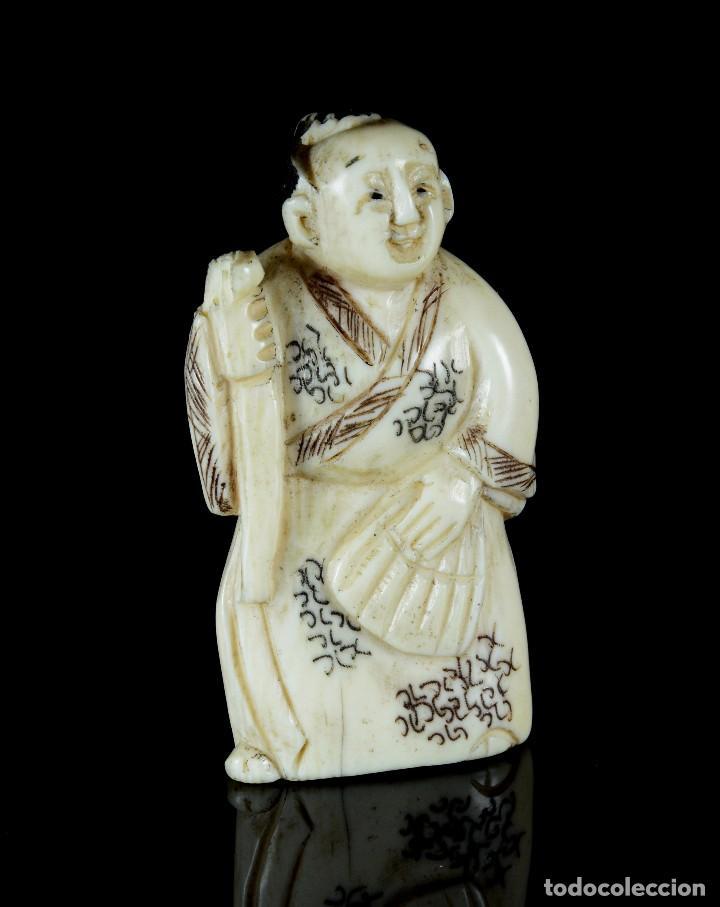 PRECIOSO NETSUKE JAPONES MARFIL ANTIGUO KIMONO (Arte - Escultura - Marfil)