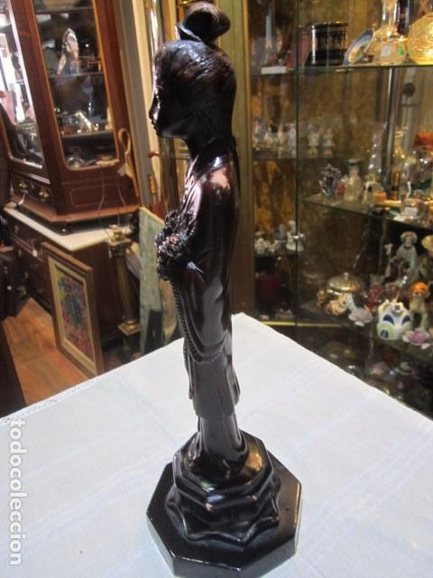 Arte: Figura de mujer oriental, tallada en madera. 40 cms. altura. - Foto 4 - 91250200