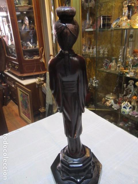 Arte: Figura de mujer oriental, tallada en madera. 40 cms. altura. - Foto 6 - 91250200