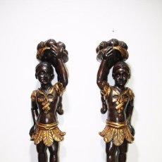 Arte: PAREJA DE ESCULTURAS AFRICANAS DE ROBLE. Lote 92444550