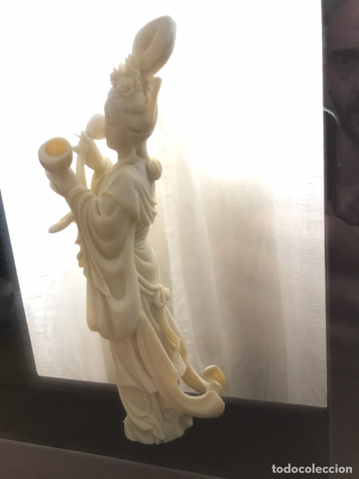 Arte: Preciosa Figura Diosa China con Marco doble (Pasta, no Marfil) - Foto 3 - 92930654