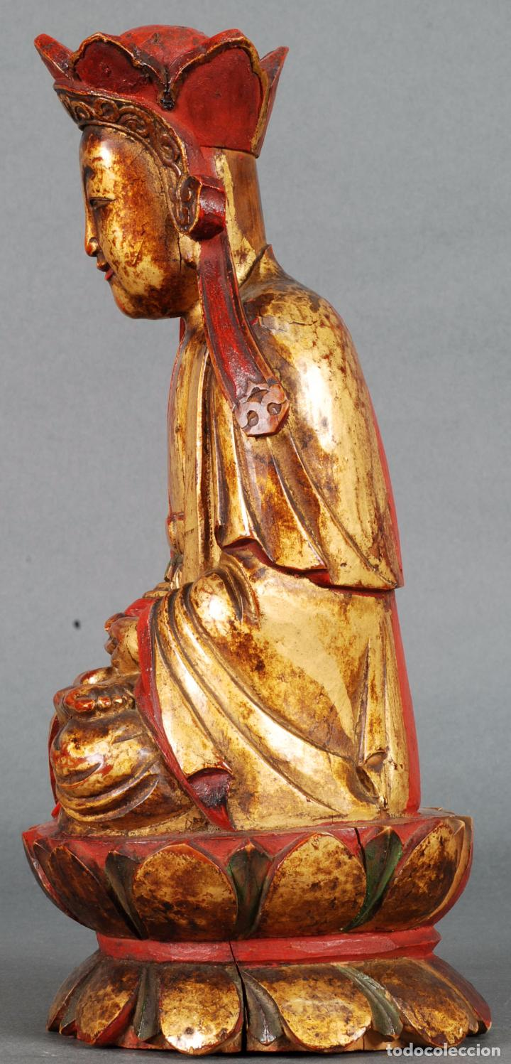 Arte: Talla oriental Buda madera dorada y policromada siglo XX - Foto 2 - 92988990