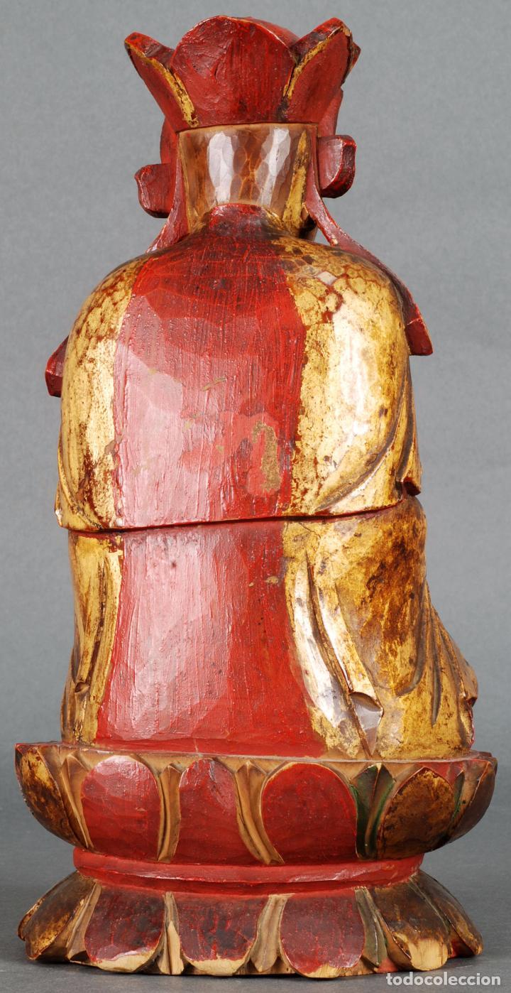 Arte: Talla oriental Buda madera dorada y policromada siglo XX - Foto 3 - 92988990