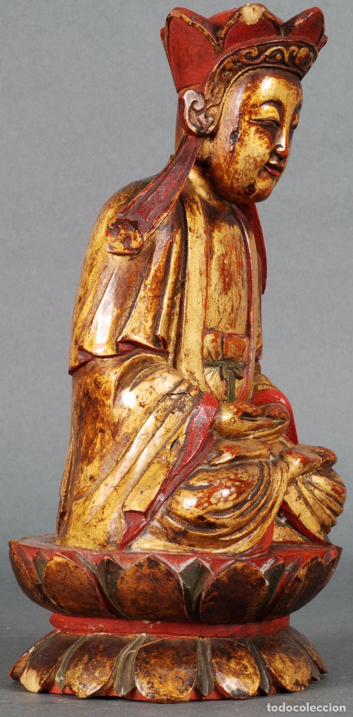 Arte: Talla oriental Buda madera dorada y policromada siglo XX - Foto 4 - 92988990