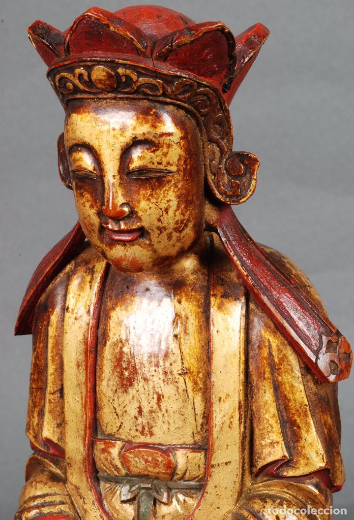Arte: Talla oriental Buda madera dorada y policromada siglo XX - Foto 5 - 92988990