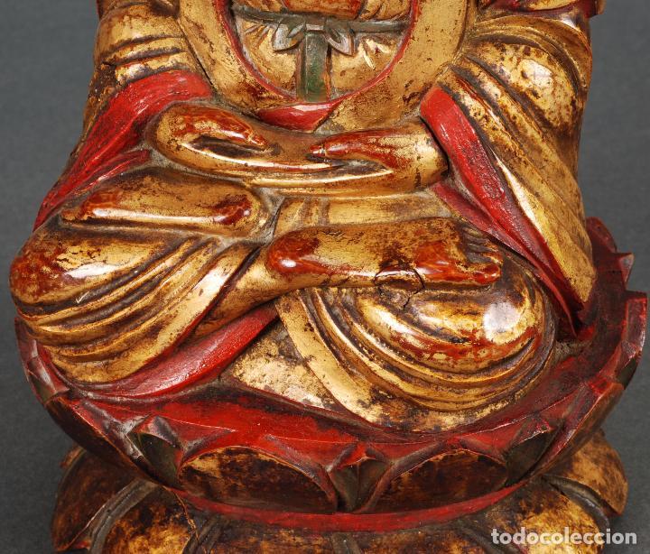 Arte: Talla oriental Buda madera dorada y policromada siglo XX - Foto 6 - 92988990
