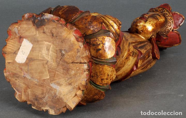 Arte: Talla oriental Buda madera dorada y policromada siglo XX - Foto 8 - 92988990