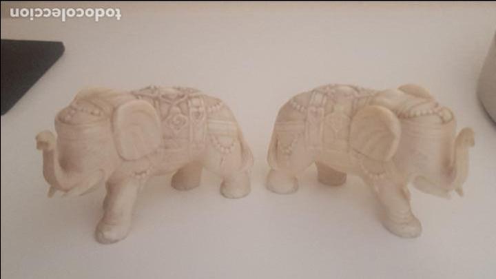 PRECIOSA PAREJA DE ELEFANTES TALLADOS EN MARFIL (Arte - Escultura - Marfil)