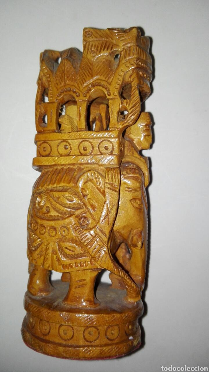 Arte: Elefante tallado en madera 13 cm - Foto 2 - 93798097