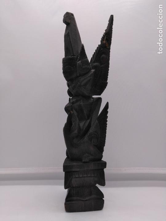 Arte: Preciosa escultura antigua tailandesa tallada a mano en madera zoomorfa de estilo tothem - Foto 2 - 96105667