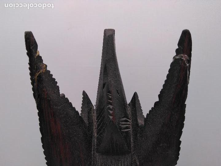 Arte: Preciosa escultura antigua tailandesa tallada a mano en madera zoomorfa de estilo tothem - Foto 5 - 96105667