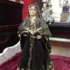Arte: IMAGEN DE SANTA RITA SIGLO XVIII EN TERRACOTA Y VESTIMENTA BORDADO ORIGINAL DE EPOCA - RELIGIOSO. Lote 97112211