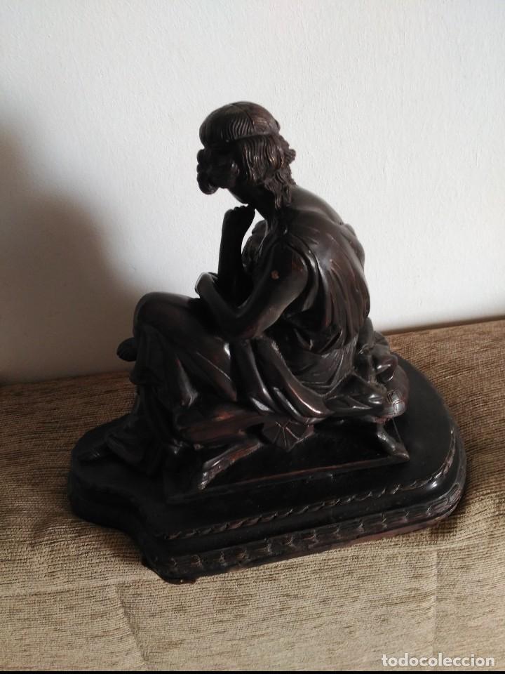 Arte: Muy antigua escultura bronce patinado.Mujer sentada con tortuga.Muy pesada - Foto 3 - 97135659