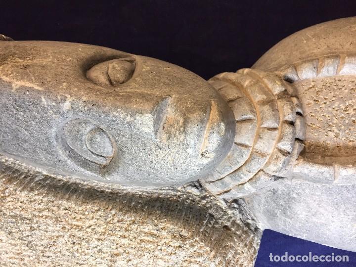 Arte: escultura figura con tocado ojos nariz boca piedra tallada firmada C. MAPEUMO 2000 80x25x15cms - Foto 6 - 97457075