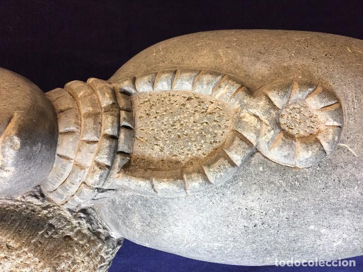 Arte: escultura figura con tocado ojos nariz boca piedra tallada firmada C. MAPEUMO 2000 80x25x15cms - Foto 7 - 97457075