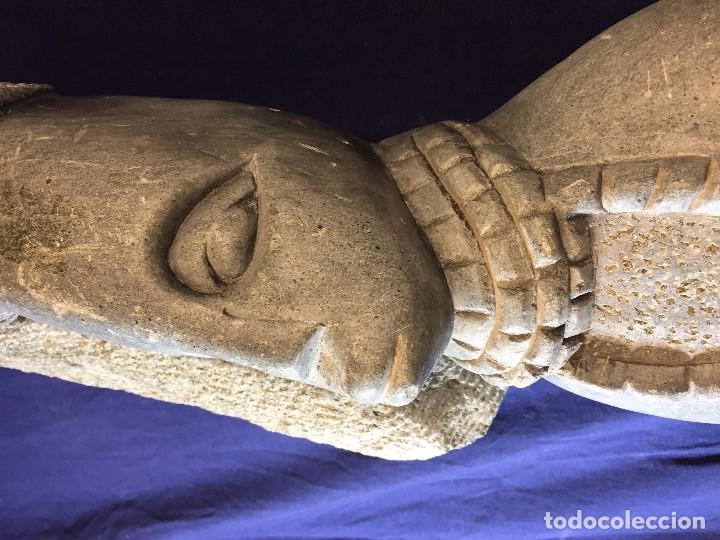Arte: escultura figura con tocado ojos nariz boca piedra tallada firmada C. MAPEUMO 2000 80x25x15cms - Foto 17 - 97457075