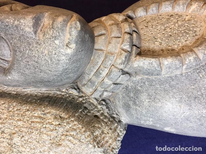 Arte: escultura figura con tocado ojos nariz boca piedra tallada firmada C. MAPEUMO 2000 80x25x15cms - Foto 19 - 97457075