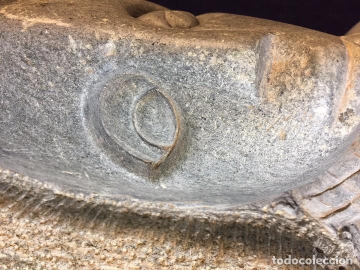 Arte: escultura figura con tocado ojos nariz boca piedra tallada firmada C. MAPEUMO 2000 80x25x15cms - Foto 20 - 97457075