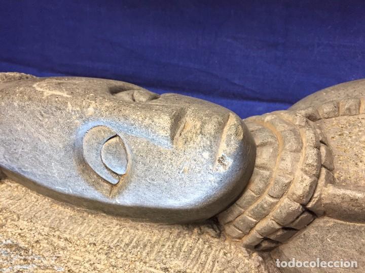 Arte: escultura figura con tocado ojos nariz boca piedra tallada firmada C. MAPEUMO 2000 80x25x15cms - Foto 21 - 97457075