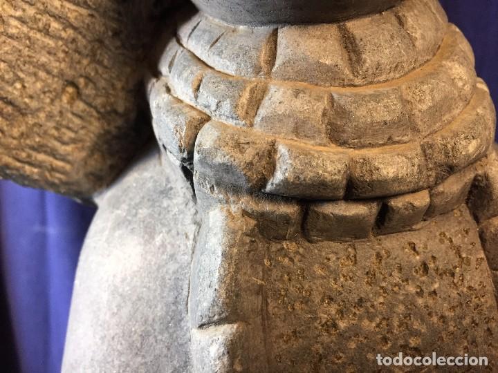 Arte: escultura figura con tocado ojos nariz boca piedra tallada firmada C. MAPEUMO 2000 80x25x15cms - Foto 27 - 97457075