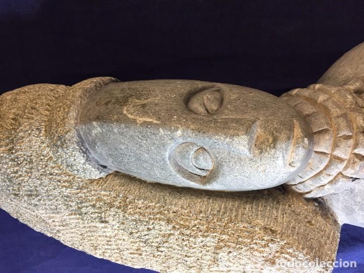 Arte: escultura figura con tocado ojos nariz boca piedra tallada firmada C. MAPEUMO 2000 80x25x15cms - Foto 29 - 97457075