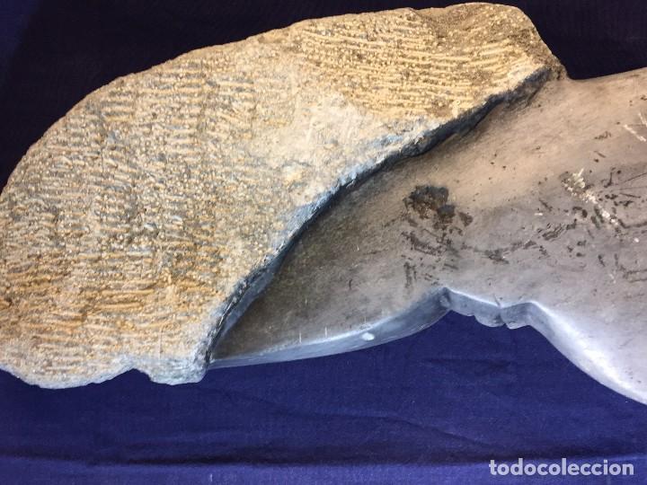 Arte: escultura figura con tocado ojos nariz boca piedra tallada firmada C. MAPEUMO 2000 80x25x15cms - Foto 37 - 97457075