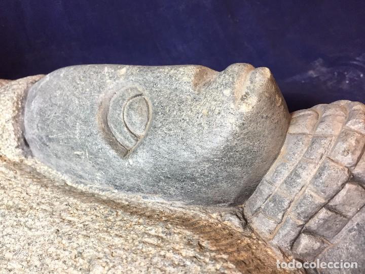 Arte: escultura figura con tocado ojos nariz boca piedra tallada firmada C. MAPEUMO 2000 80x25x15cms - Foto 58 - 97457075