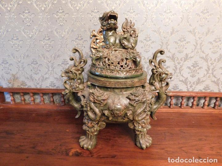 VASIJA CHINA TAOISTA GRANDE ORIENTAL (Arte - Escultura - Resina)