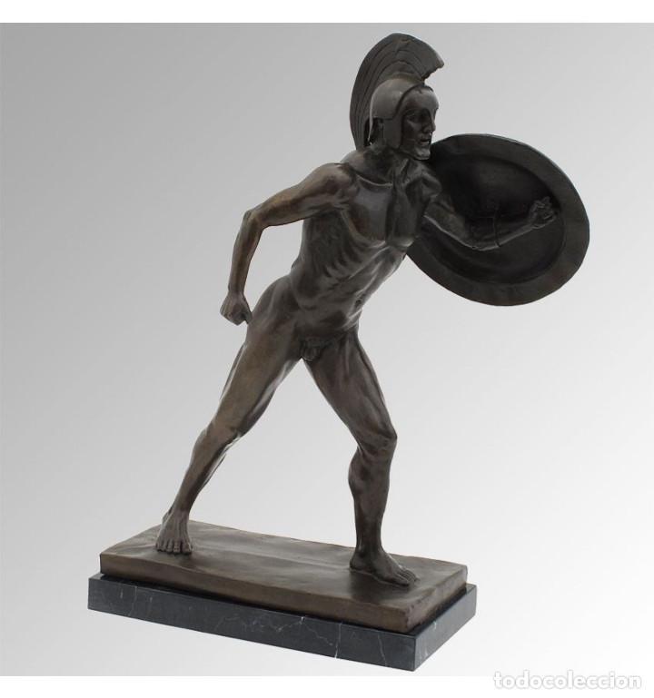 ESCULTURAS. ESCULTURA ARTESANAL EN BRONCE A LA CERA PERDIDA SOLDADO ESPARTANO CON ESCUDO (Arte - Escultura - Bronce)