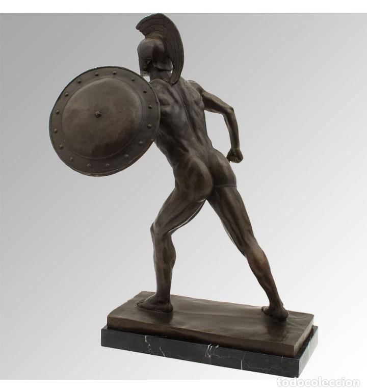 Arte: Esculturas. Escultura artesanal en bronce a la cera perdida Soldado espartano con escudo - Foto 2 - 97611155