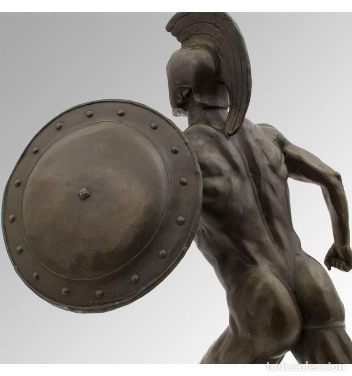 Arte: Esculturas. Escultura artesanal en bronce a la cera perdida Soldado espartano con escudo - Foto 3 - 97611155