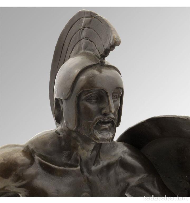 Arte: Esculturas. Escultura artesanal en bronce a la cera perdida Soldado espartano con escudo - Foto 4 - 97611155