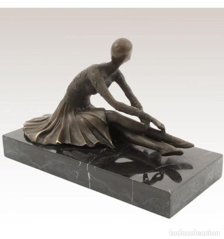 Arte: Esculturas. Escultura artesanal en bronce a la cera perdida Mujer Art Decó sentada Tanara - Foto 3 - 98204879