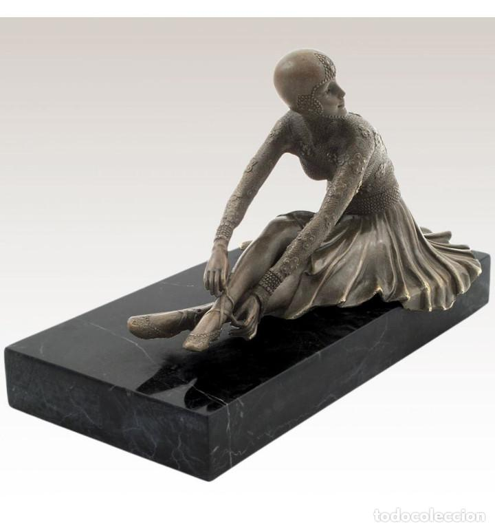 Arte: Esculturas. Escultura artesanal en bronce a la cera perdida Mujer Art Decó sentada Tanara - Foto 4 - 98204879