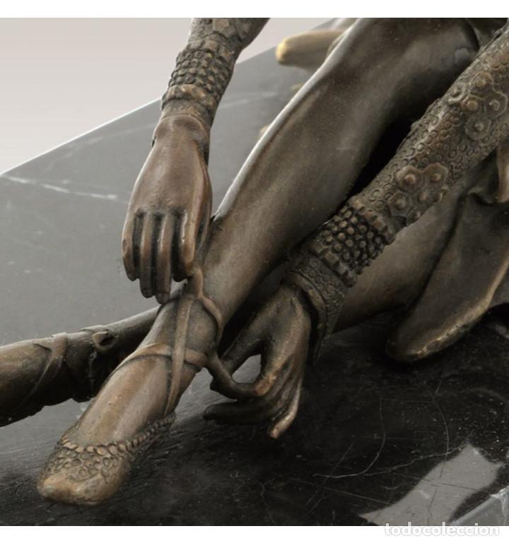 Arte: Esculturas. Escultura artesanal en bronce a la cera perdida Mujer Art Decó sentada Tanara - Foto 5 - 98204879