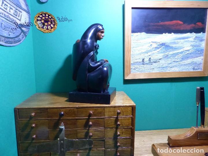 ,,,ESCULTURA EN MADERA EBONIZADA,,,MUY BUENA CALIDAD Y DETALLE,,, (Arte - Escultura - Madera)