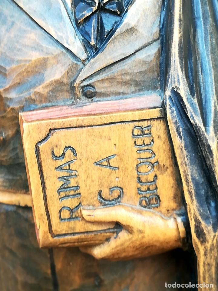 Arte: ESCULTURA-TALLA DE MADERA DEL ESCRITOR GUSTAVO ADOLFO BECQUER,FINALES DEL XIX,LIBRO RIMAS Y LEYENDAS - Foto 9 - 98962591