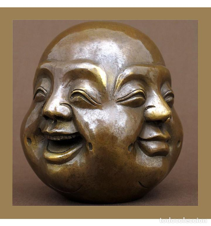 ESCULTURAS. ESCULTURA ARTESANAL EN BRONCE A LA CERA PERDIDA CABEZA 4 CARAS DE BUDA 11CM (Arte - Escultura - Bronce)