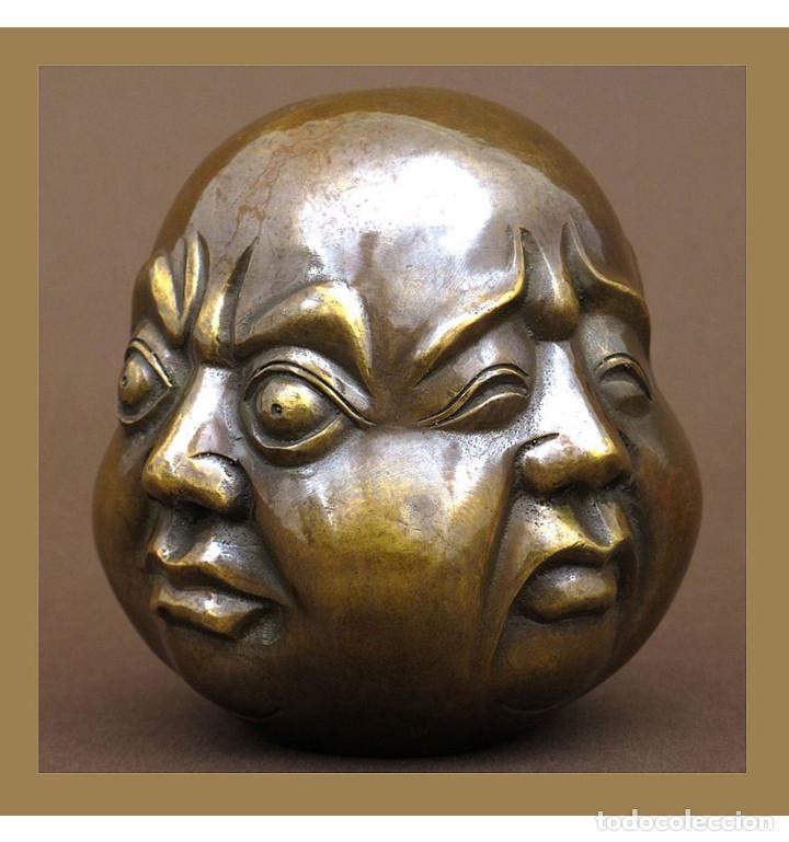 Arte: Esculturas. Escultura artesanal en bronce a la cera perdida Cabeza 4 caras de Buda 11cm - Foto 2 - 99355075