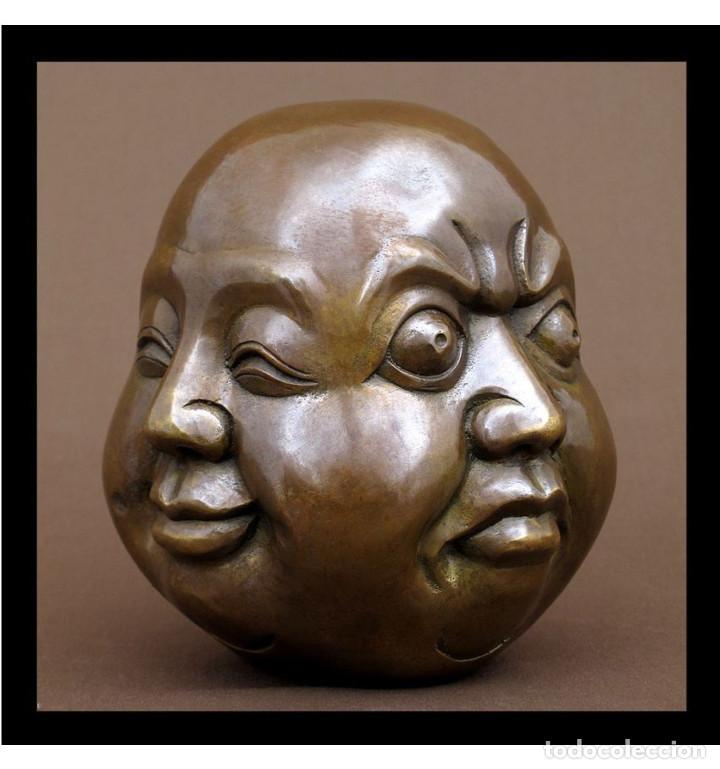 ESCULTURAS. ESCULTURA ARTESANAL EN BRONCE A LA CERA PERDIDA CABEZA 4 CARAS DE BUDA 15CM. (Arte - Escultura - Bronce)