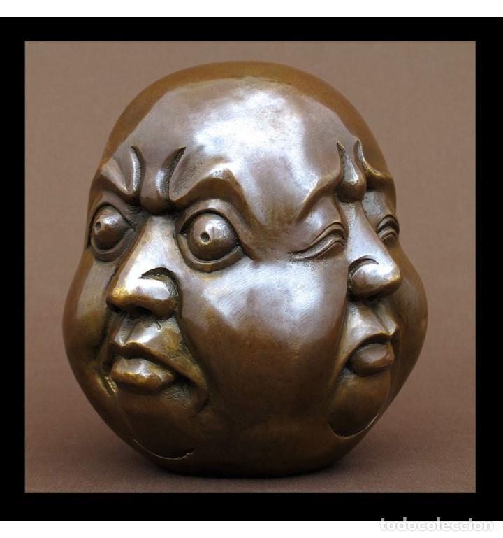Arte: Esculturas. Escultura artesanal en bronce a la cera perdida Cabeza 4 caras de Buda 15cm. - Foto 2 - 99390011