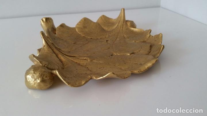 Arte: Magnífica Bandeja de Hojas de Castaño con castañas - Bronce - Firmado A. MARIONNET - Foto 3 - 99987679