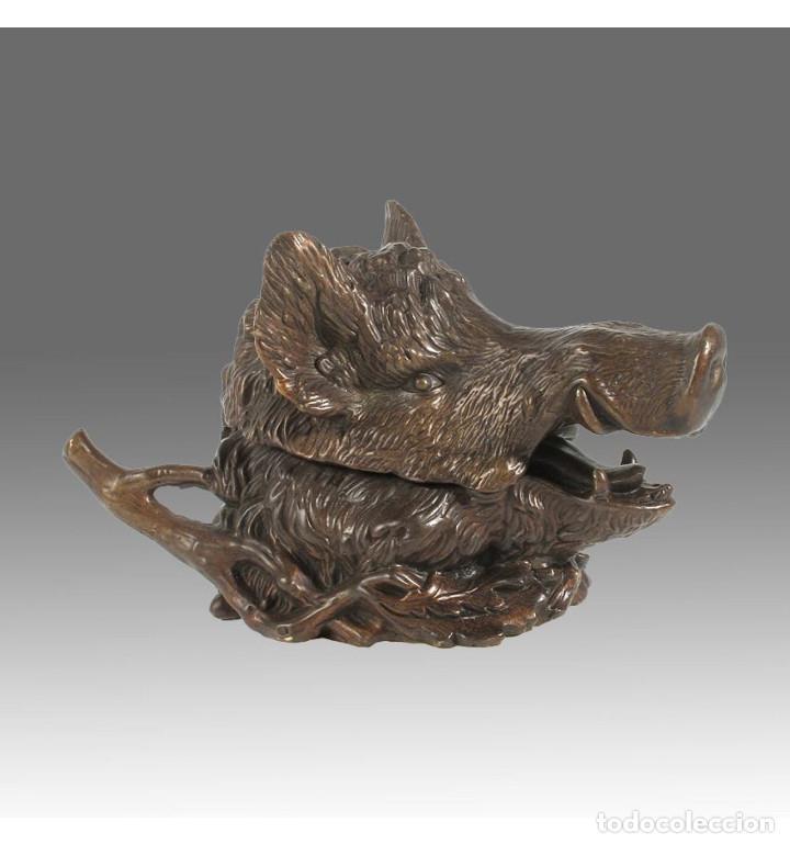 Arte: Esculturas. Escultura artesanal Pátina oscura en bronce a la cera perdida Caja cabeza de jabalí - Foto 3 - 100175171
