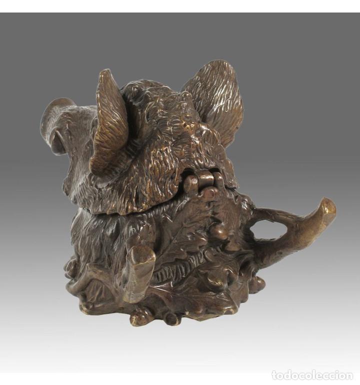 Arte: Esculturas. Escultura artesanal Pátina oscura en bronce a la cera perdida Caja cabeza de jabalí - Foto 4 - 100175171