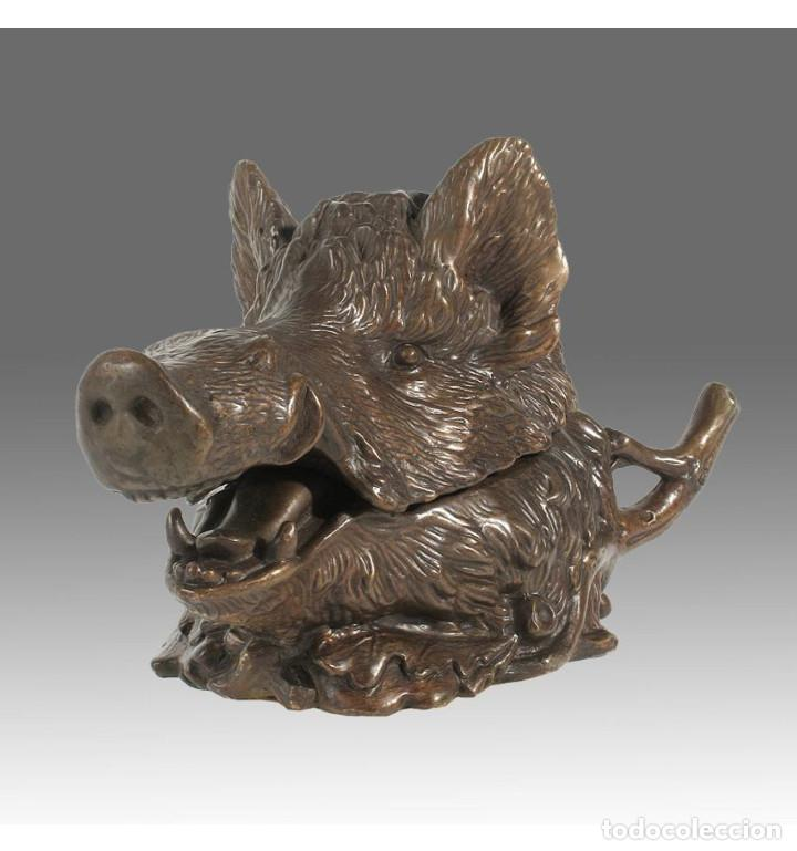 Arte: Esculturas. Escultura artesanal Pátina oscura en bronce a la cera perdida Caja cabeza de jabalí - Foto 5 - 100175171